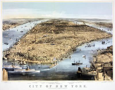 Historian Mixed Media - New York Vintage Aerial View Restored 1856 by Carsten Reisinger