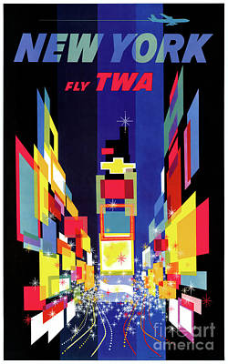 Drawing - New York Vintage Air Travel Poster Restored by Carsten Reisinger