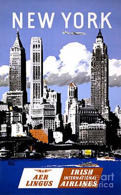 Skyline Painting - New York Vintage Travel Poster Restored by Carsten Reisinger