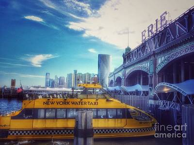 Photograph - New York Water Taxi - From Erie Lackawanna Railroad Station - Hoboken  by Miriam Danar