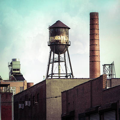 Print featuring the photograph New York Water Towers 19 - Urban Industrial Art Photography by Gary Heller
