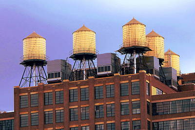 Pyrography - New York Water Towers by Art America Gallery Peter Potter