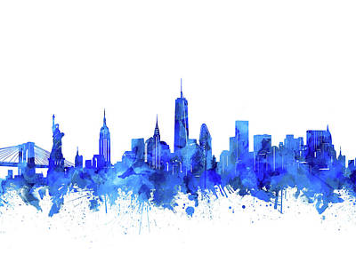 Skylines Royalty-Free and Rights-Managed Images - New York Watercolor Blue by Bekim Art