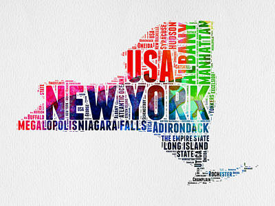 New York Watercolor Word Cloud Map Print by Naxart Studio
