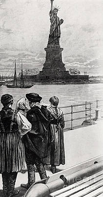 Statue Of Liberty Drawing - New York  Welcome To The Land Of Freedom by American School
