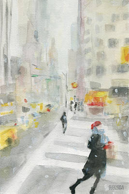 Snow Scene Painting - New York Winter 57th Street by Beverly Brown