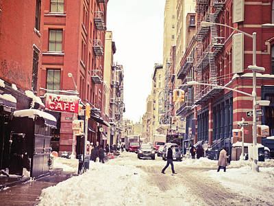 New York Winter - Snowy Street In Soho Print by Vivienne Gucwa