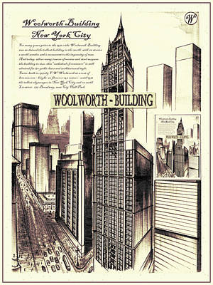 Drawing - New York Woolworth Building 75 by Art America Gallery Peter Potter