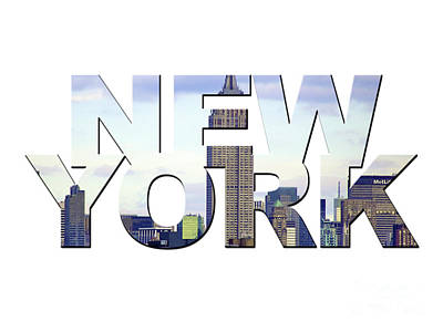 Photograph - New York Word Art by Toula Mavridou-Messer