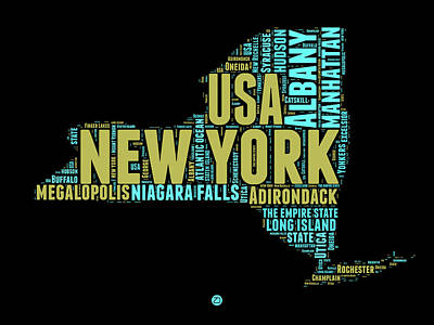 New York Word Cloud Map 1 Art Print by Naxart Studio