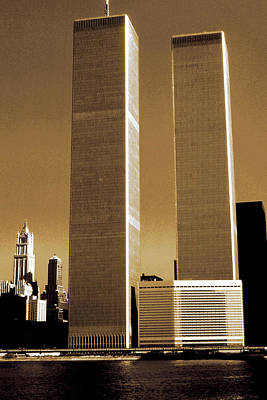 Photograph - New York World Trade Center Before 911 - Sepia Color by Art America Gallery Peter Potter