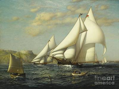 Boats In Harbor Painting - New York Yacht Club Racing Boats In New York Harbor by MotionAge Designs