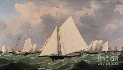 Waving Flag Painting - New York Yacht Club Regatta, 1856  by Fitz Henry Lane