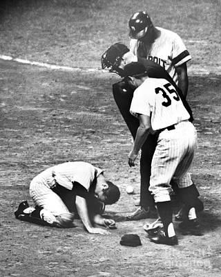 New York Yankee Platoon Catcher Jake Dead-eye Gibbs Injured After Accident At Home Plate. 1966 Art Print