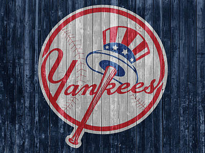 Athletes Mixed Media - New York Yankees Barn Door by Dan Sproul