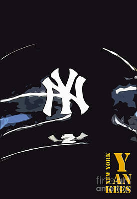 Baseball Drawing - New York Yankees Black by Pablo Franchi