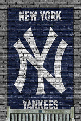 Ball Painting - New York Yankees Brick Wall by Joe Hamilton