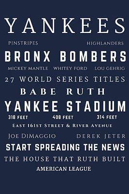 Derek Jeter Digital Art - New York Yankees Historical Art by JJ Madison