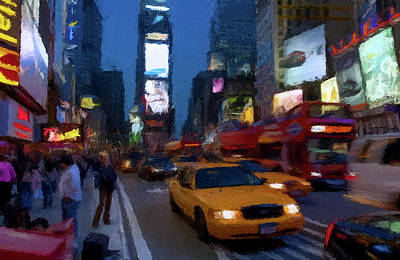 Print featuring the painting New York Yellow Cab by David Dehner