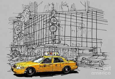 Statue Of Liberty Drawing - New York Yellow Cab by Pablo Franchi