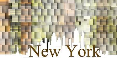 Abstract Digital Art - New York Yellow Shadows by Alberto RuiZ