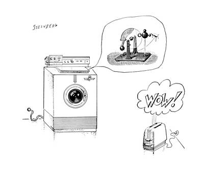 Toaster Drawing - New Yorker August 12th, 1961 by Saul Steinberg