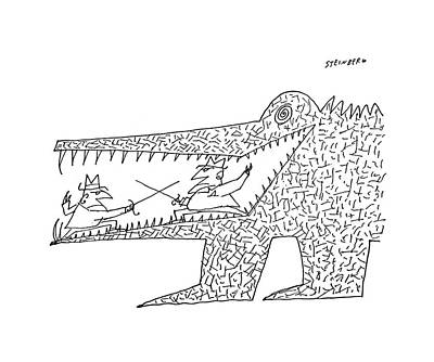Crocodile Drawing - New Yorker December 10th, 1960 by Saul Steinberg