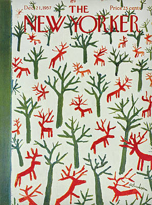 Winter Trees Painting - New Yorker December 21 1957 by Abe Birnbaum