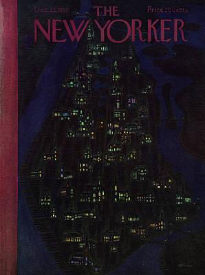 Winter Sky Painting - New Yorker December 23 1950 by Daniel Brustlein