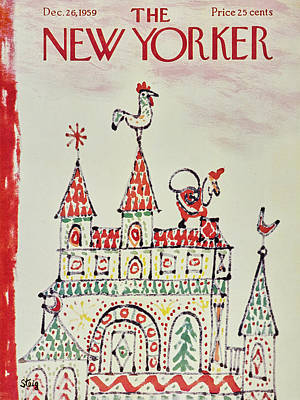 Gift Painting - New Yorker December 26 1959 by William Steig