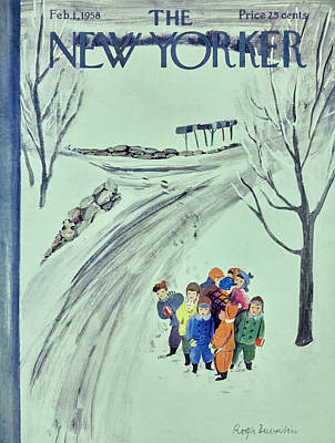 Winter Trees Painting - New Yorker February 1 1958 by Roger Duvoisin