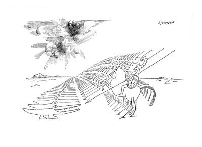 Crocodile Drawing - New Yorker February 29th, 1964 by Saul Steinberg