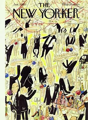 New Years Eve Drawing - New Yorker January 03 1953 by Ludwig Bemelmans