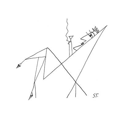 Chair Drawing - New Yorker January 26th, 1957 by Saul Steinberg