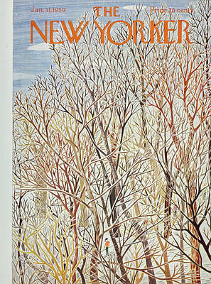 Winter Trees Painting - New Yorker January 31 1959 by Ilonka Karasz