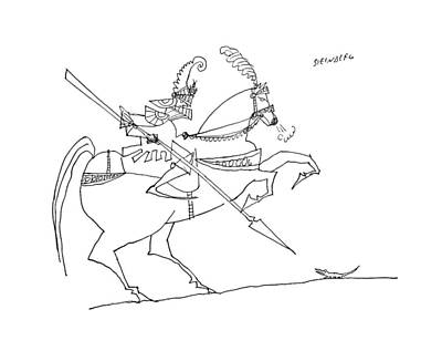 Armor Drawing - New Yorker January 3rd, 1959 by Saul Steinberg