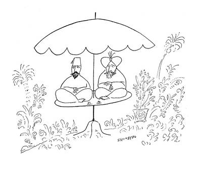 Meditation Drawing - New Yorker July 17th, 1954 by Saul Steinberg