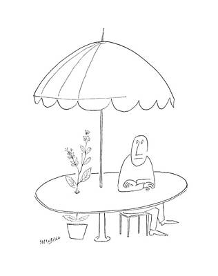 Optical Illusion Drawing - New Yorker July 18th, 1953 by Saul Steinberg