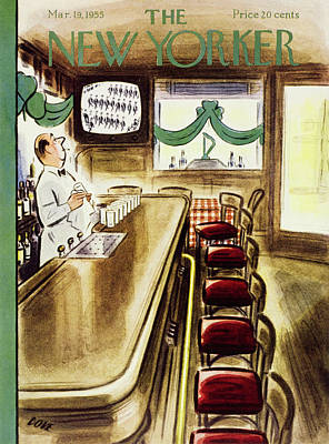 Tv Painting - New Yorker March 19, 1955 by Leonard Dove