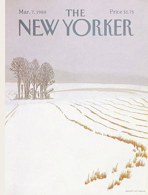 Winter Trees Drawing - New Yorker March 7 1988 by Gretchen Dow Simpson