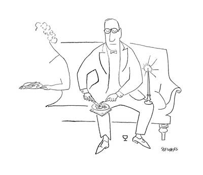 Candle Lit Drawing - New Yorker November 11th, 1950 by Saul Steinberg
