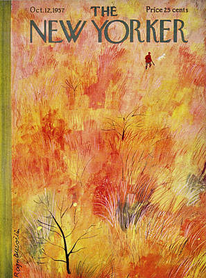 Autumn Painting - New Yorker October 12th 1957 by Roger Duvoisin