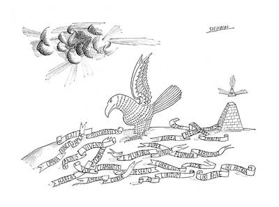 Catch Drawing - New Yorker October 26th, 1968 by Saul Steinberg