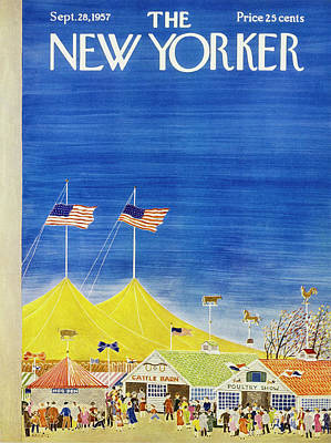 Leisure Time Painting - New Yorker September 28 1957 by Ilonka Karasz