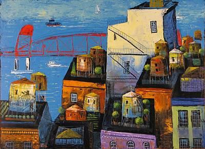 Painting - New York,red Bridge by Mikhail Zarovny
