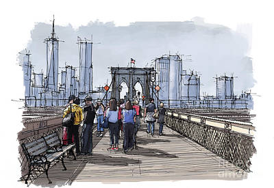 Columbus Drawing - New York.the Bridge.handmade Drawing by Pablo Franchi