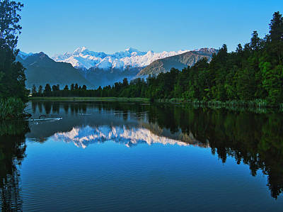 Photograph - New Zealand Alps From Lake Matheson by Steven Ralser