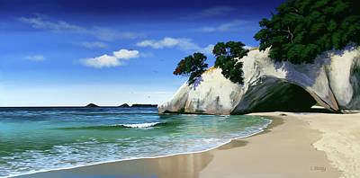Aotearoa Painting - New Zealand Cathedral Cove By Linelle Stacey by Linelle Stacey