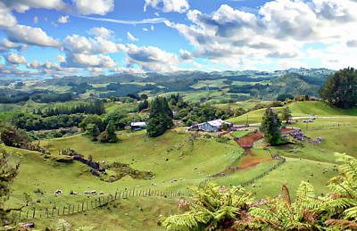 Photograph - New Zealand Farm Country by Anthony Dezenzio