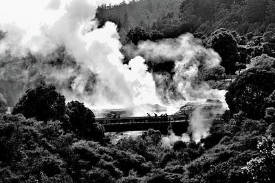 New Zealand - Figures Against Hot-steam - Black And White Art Print